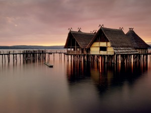 Lake Stilt House Wallpaper