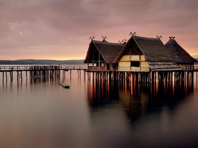 Lake Stilt House Wallpaper