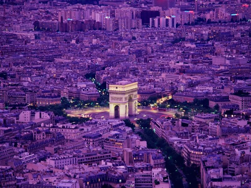 Arc de Triomphe-Paris-France Aerial View Wallpaper