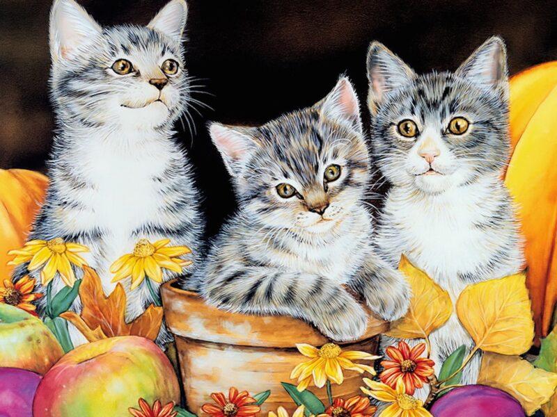 Autumn Kittens Painting Wallpaper