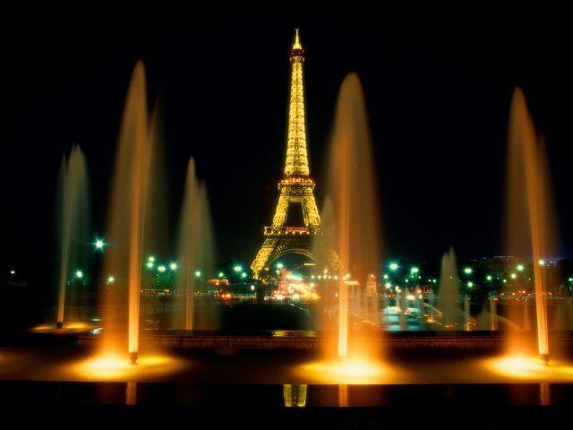 Eiffel Tower Night Lights Wallpaper