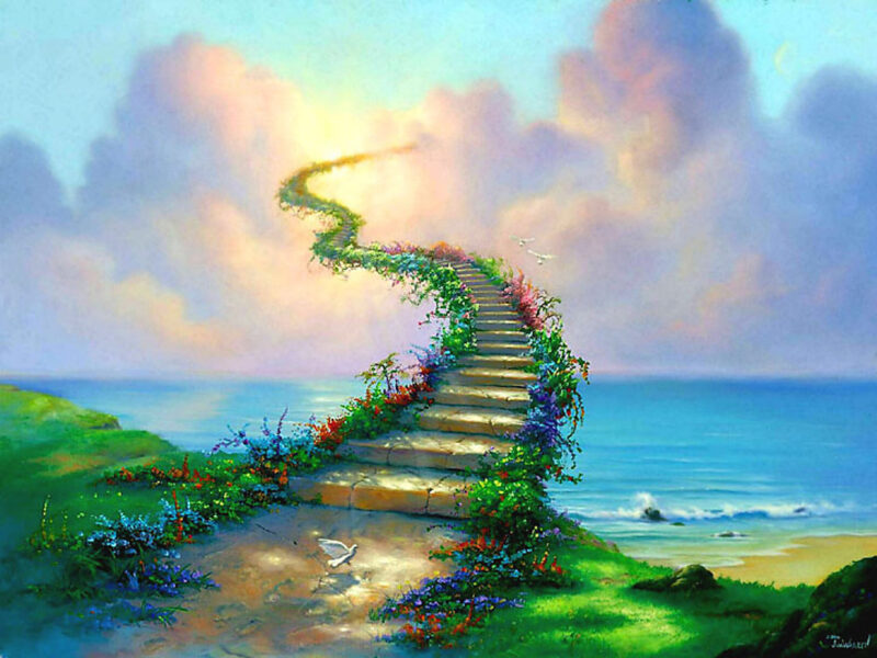Heavenly Staircase Painting Wallpaper