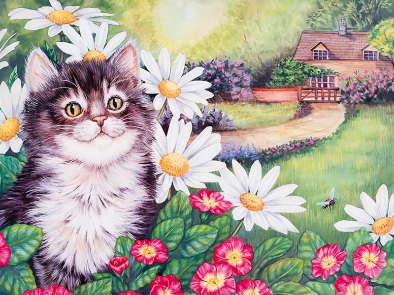 Kitten Flowers Painting Wallpaper