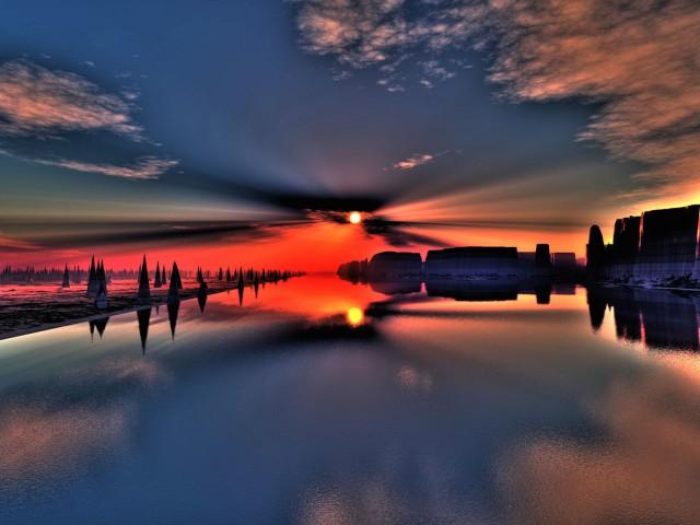 Fiery Sunset HDR Wallpaper