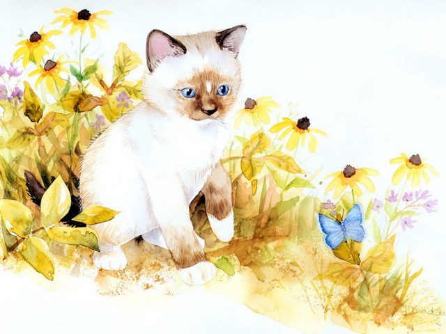 Kitten Staring Painting Wallpaper