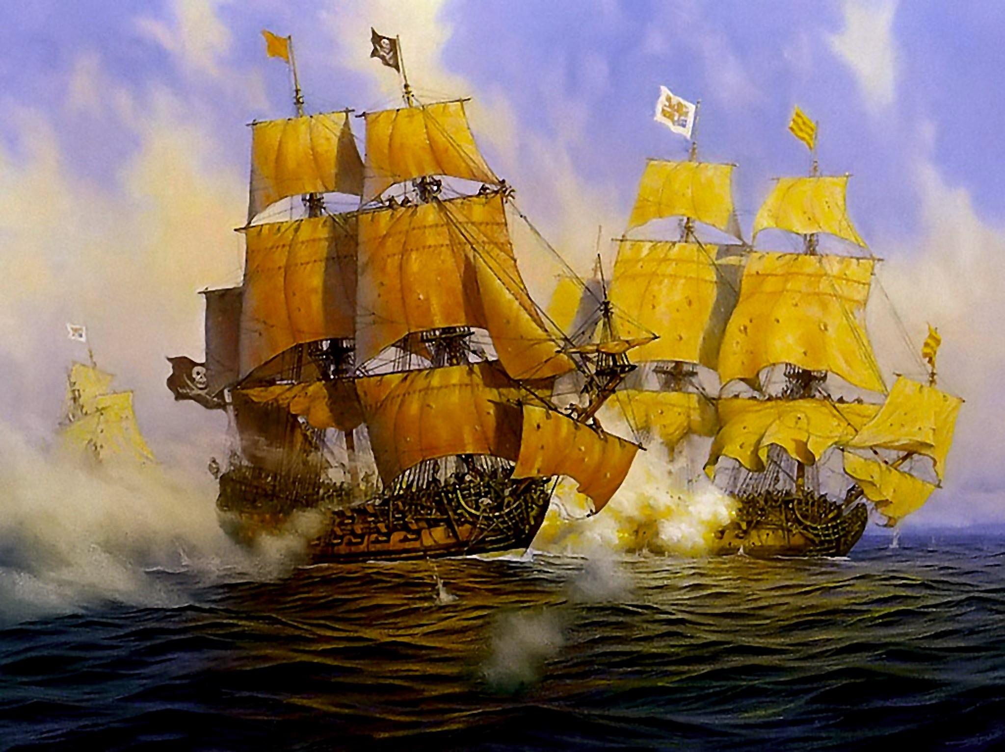Pirate Ships Sailing Wallpaper | Free