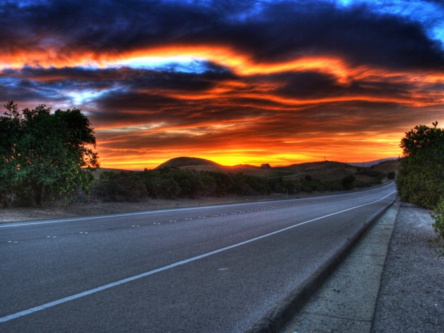 Sunset Above Road Wallpaper