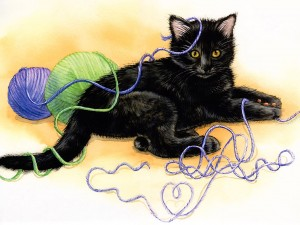 Tangled Kitten Painting Wallpaper