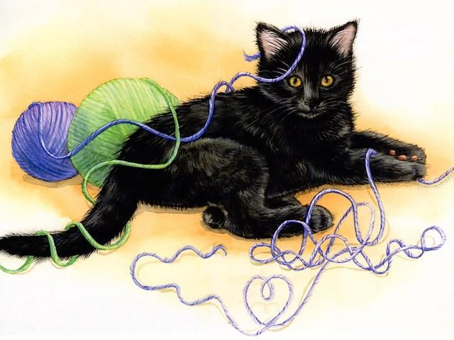 Tangled Kitten Painting Wallpaper