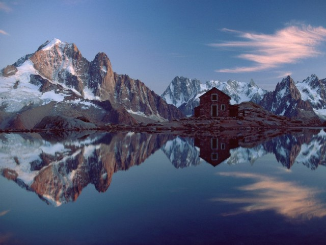 French Alps Reflection Wallpaper