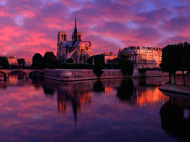 Notre Dame Sunrise Paris France Wallpaper