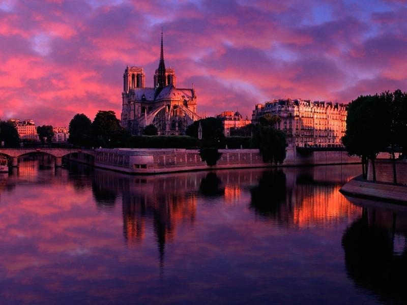 Notre Dame Sunrise Paris France Wallpaper
