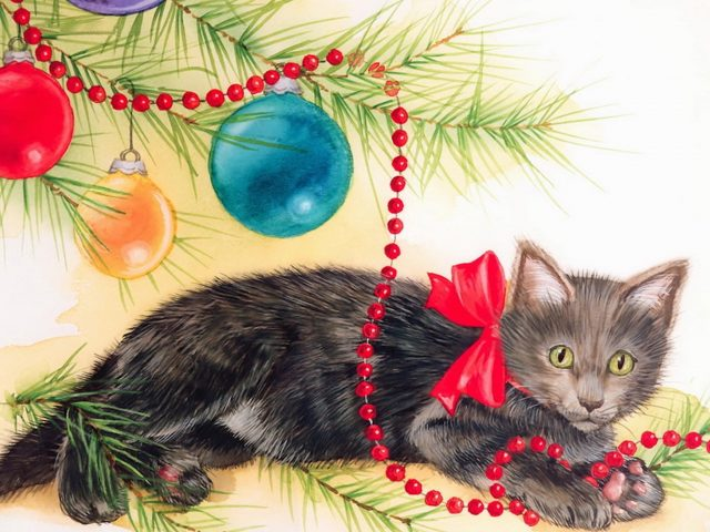Kitten Christmas Painting Wallpaper