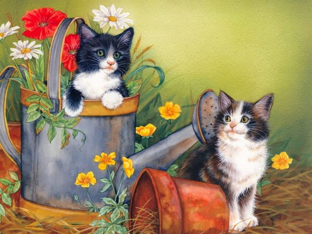 Mischievous Kittens Painting Wallpaper