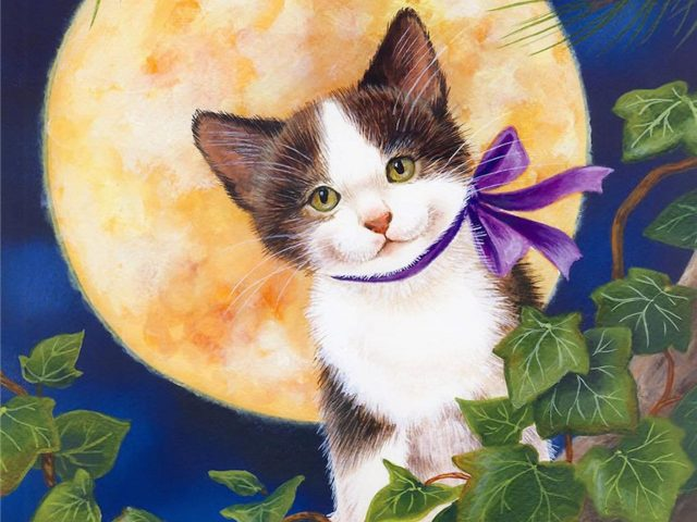Moonlight Kitten Painting Wallpaper