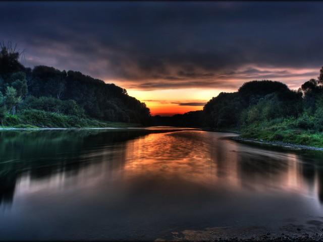 Still River Sunset Wallpaper