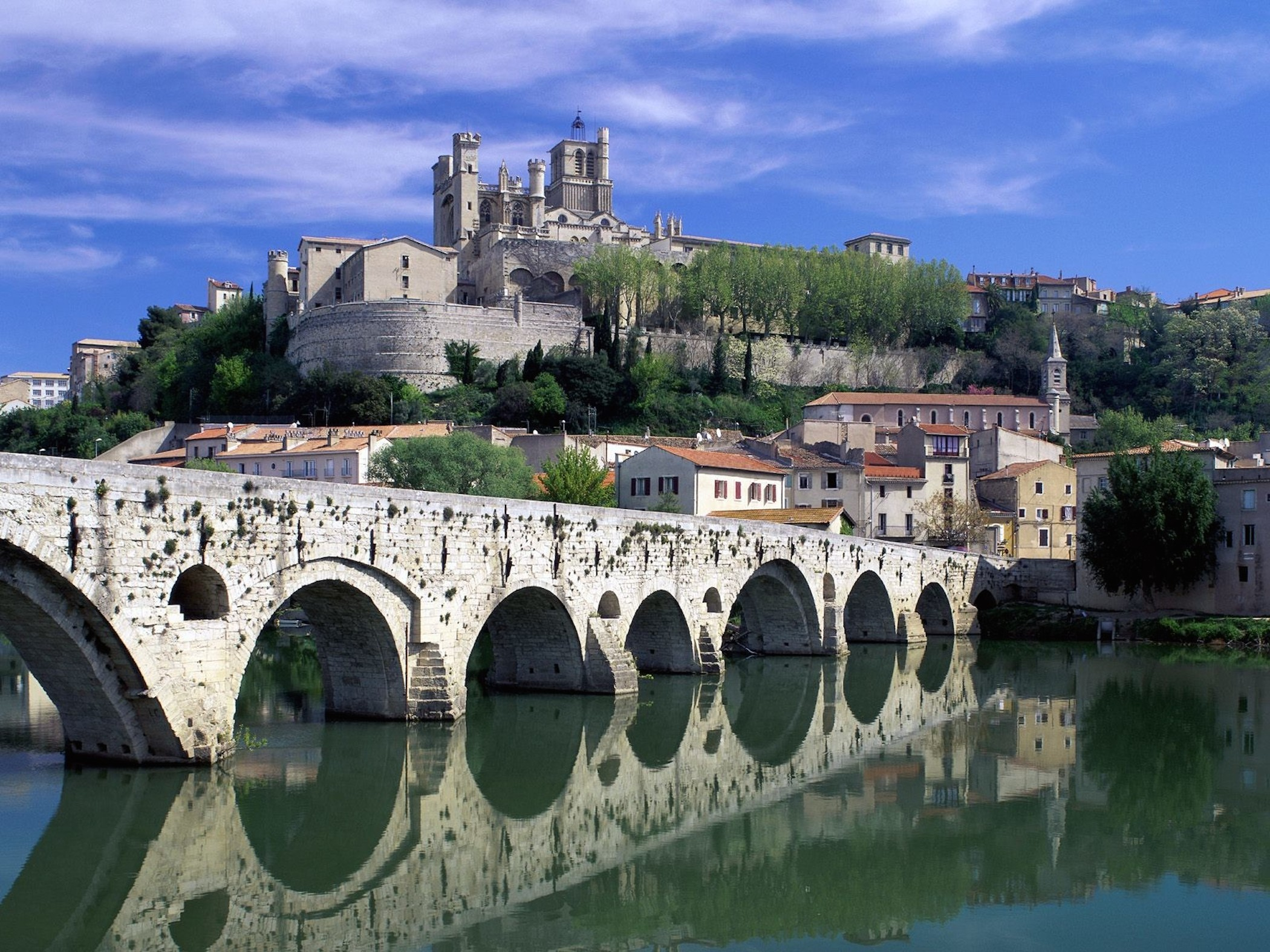 beziers france orb river wallpaper free france downloads. Black Bedroom Furniture Sets. Home Design Ideas