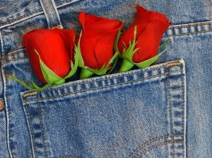 Blue Jeans Pocket Roses Wallpaper