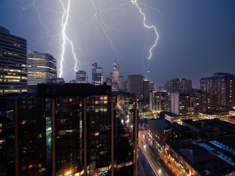 City Lightning Storm Wallpaper