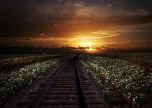 Railroad Sunset Wallpaper