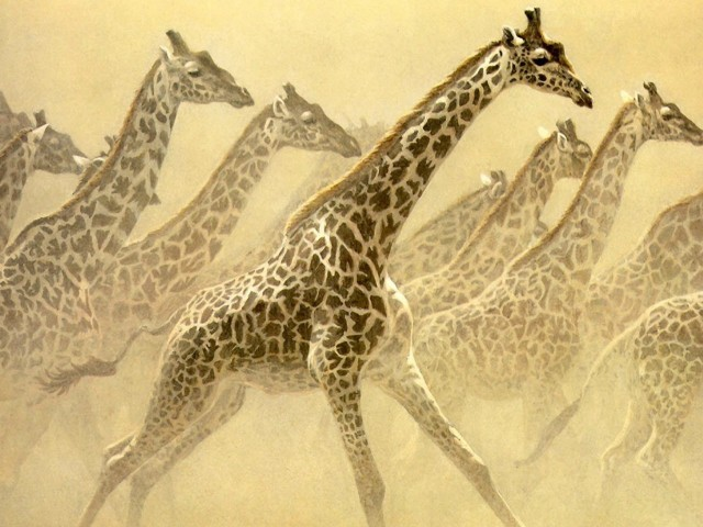 Giraffes Painting Wallpaper