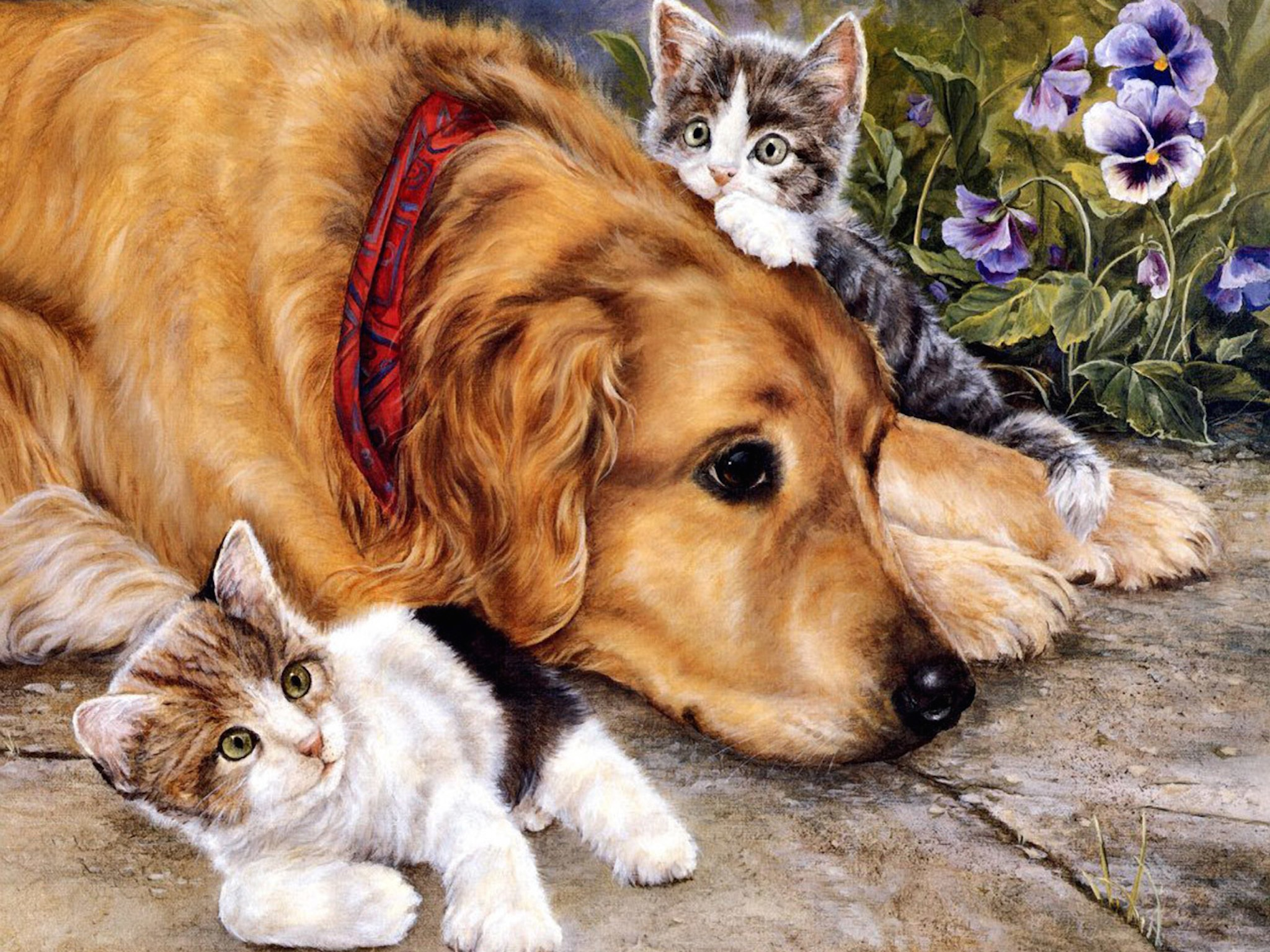 sweet dog with kittens painting wallpaper | free hd image