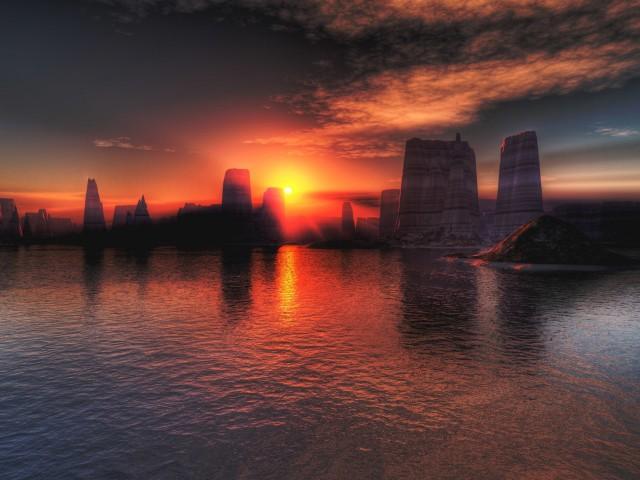 Gorgeous Sunset Landscape Wallpaper