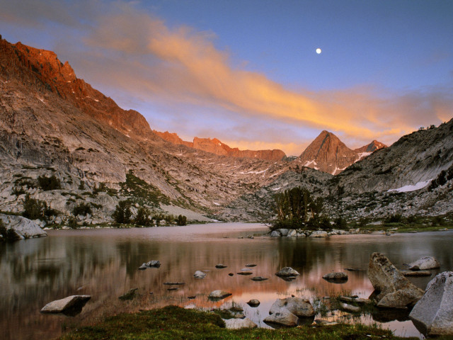 Sunset Over A Mountain Lake In The High Sierra