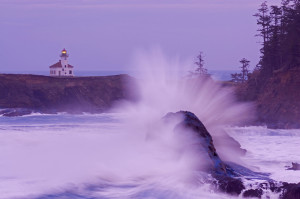 Wave Cape Arago Lighthouse. Oregon Coast