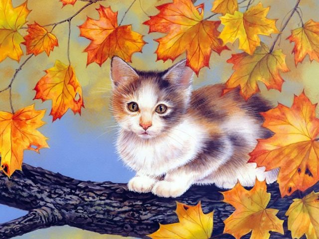 Fall Foliage Kitten Painting Wallpaper