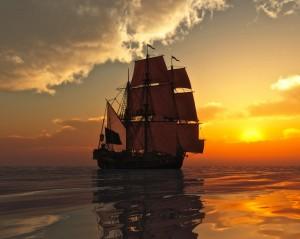 Sailing Ship Sunset Wallpaper
