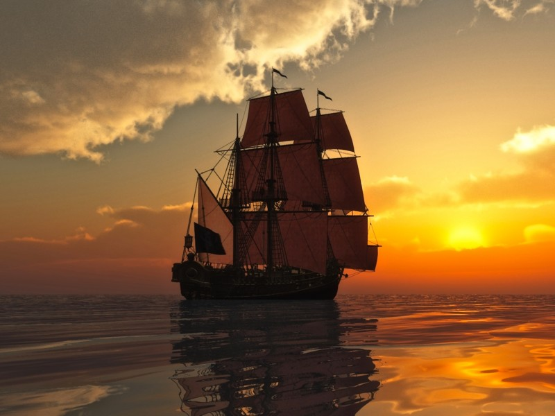 Sailing Ship Sunset Wallpaper
