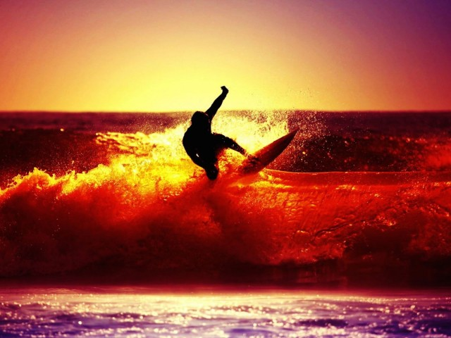 Sunset Surfing Wallpaper