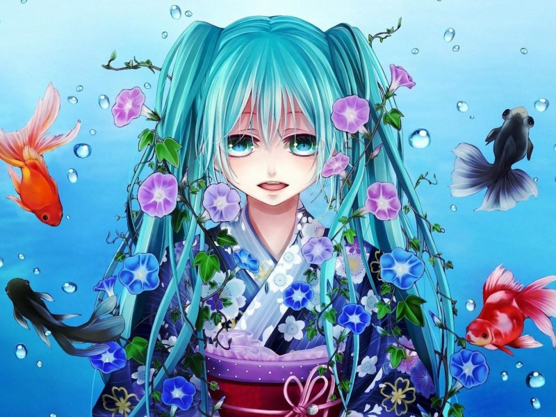 Anime Fish Girl Vocaloid Hatsune Miku Wallpaper