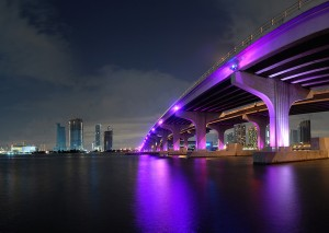 Nighttime Miami Fl Skyline Wallpaper