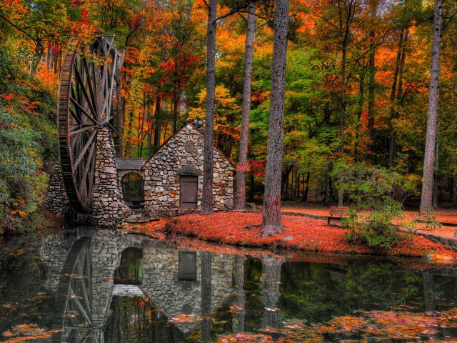 Autumn Water Mill Wallpaper