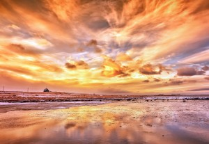 Beach Fiery Sky Wallpaper