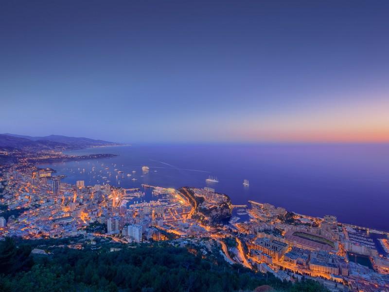 Monaco Sunset Aerial View Wallpaper