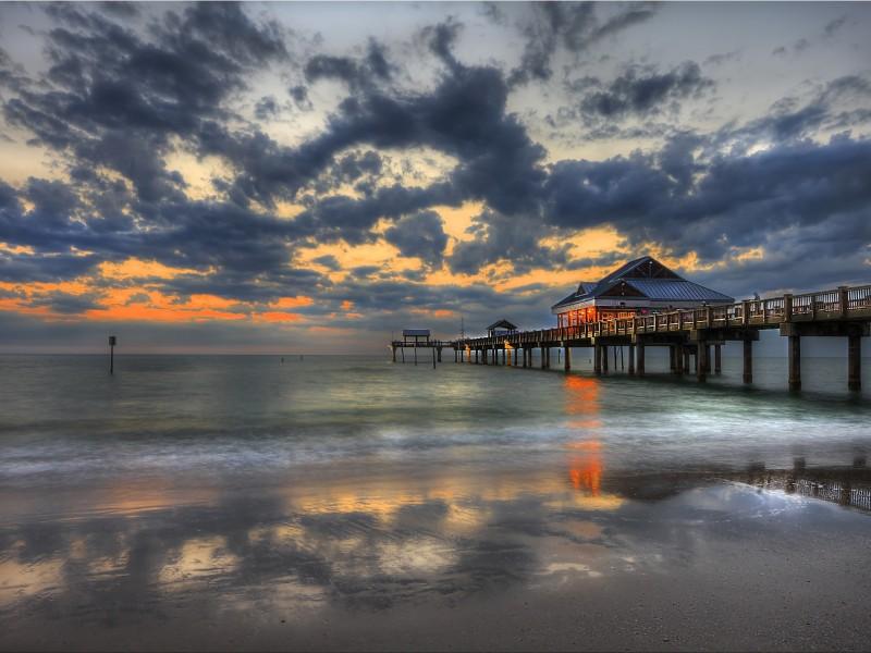 Sunset Pier Clearwater Florida Wallpaper