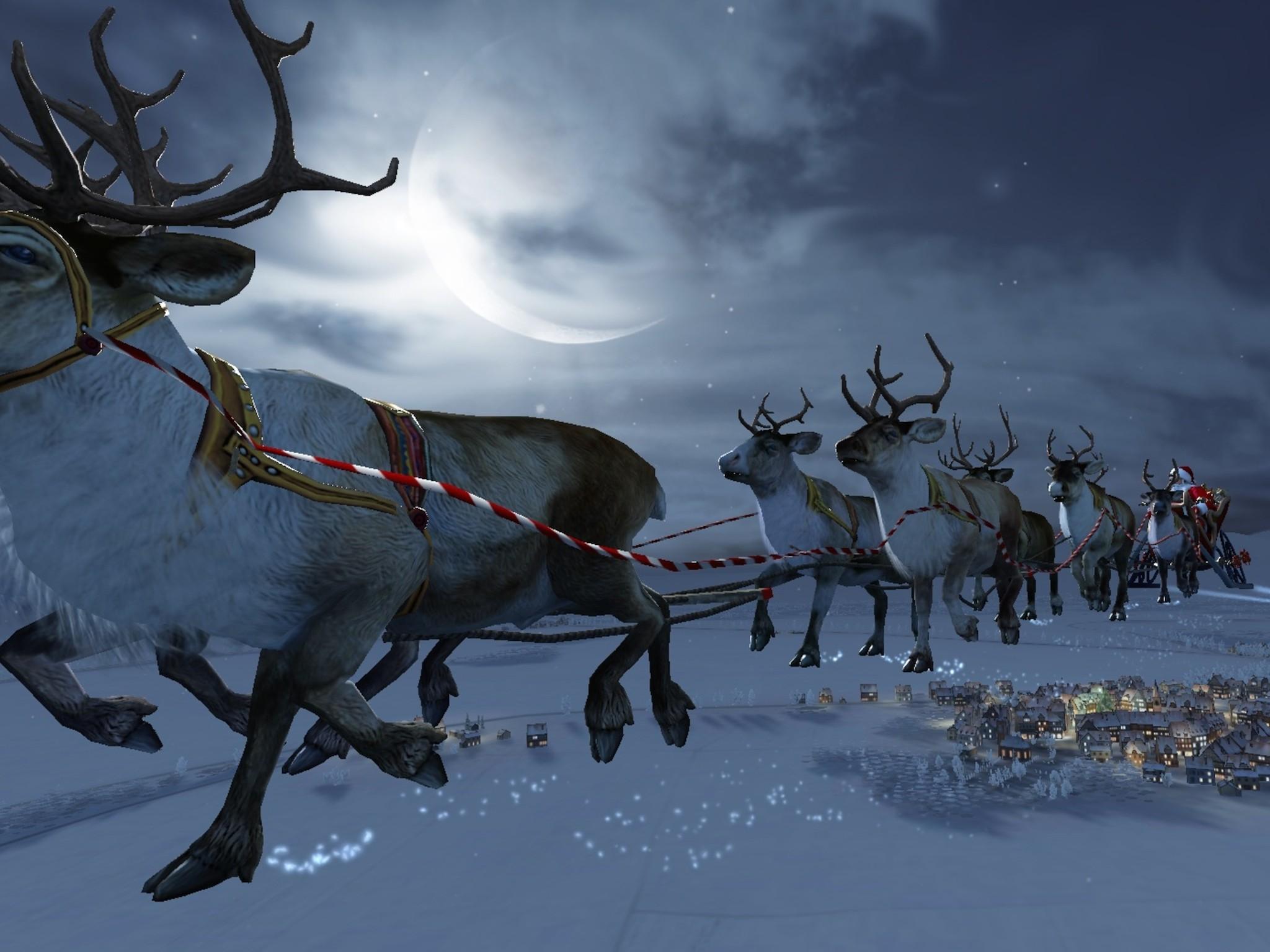 Santa Flying Reindeer Wallpaper | Free HD Santa Download