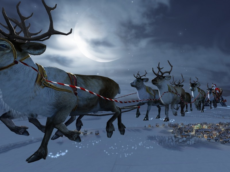 Santa Flying Reindeer Wallpaper