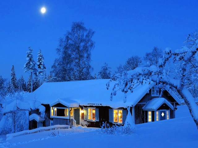Moonlight Winter House Wallpaper