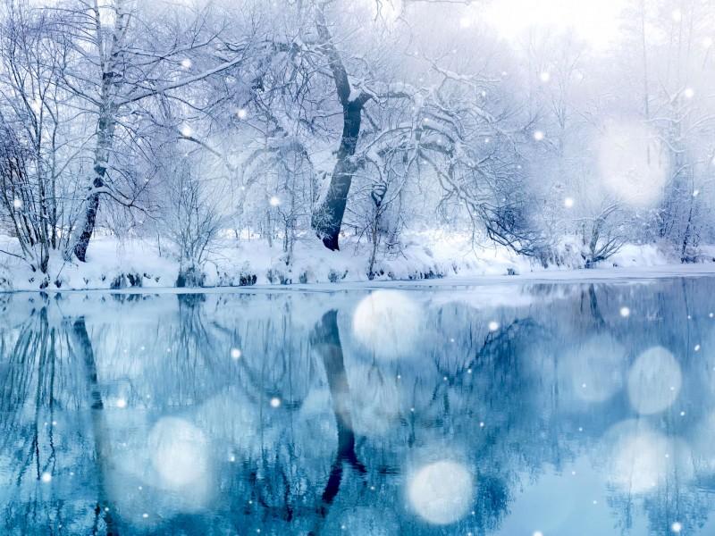 Snowy Lake Wallpaper