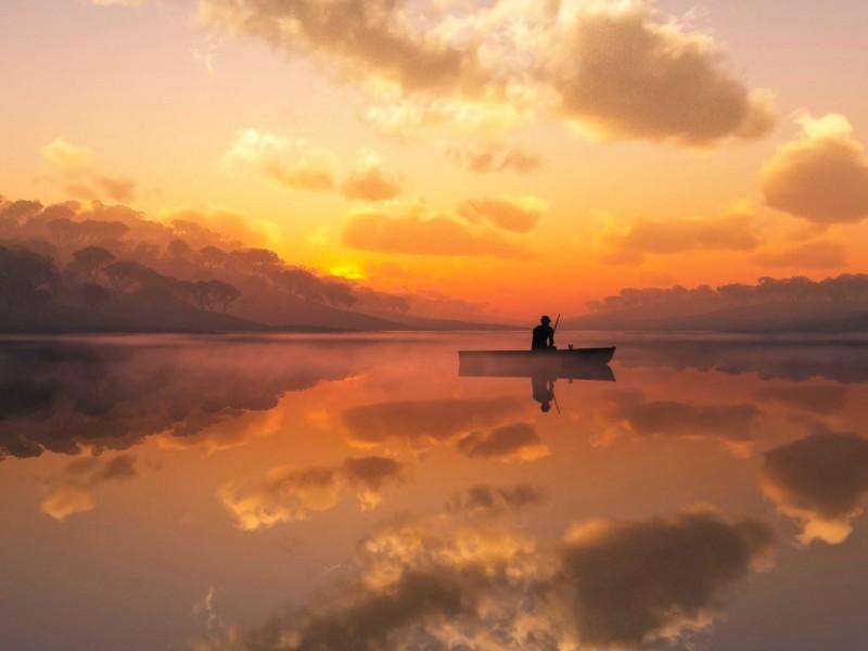 Solitary Fisherman Wallpaper