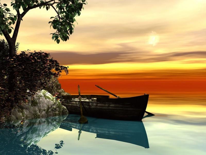 Serene Rowboat Setting Wallpaper