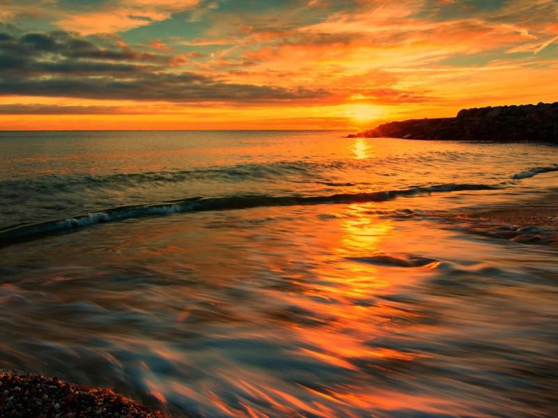 Italy Sunset-Tyrrhenian Sea Wallpaper