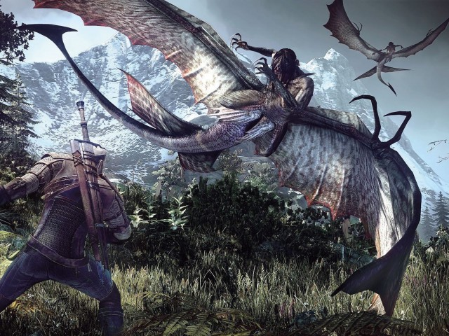 Witcher 3-Geralt Fighting Monster Wallpaper