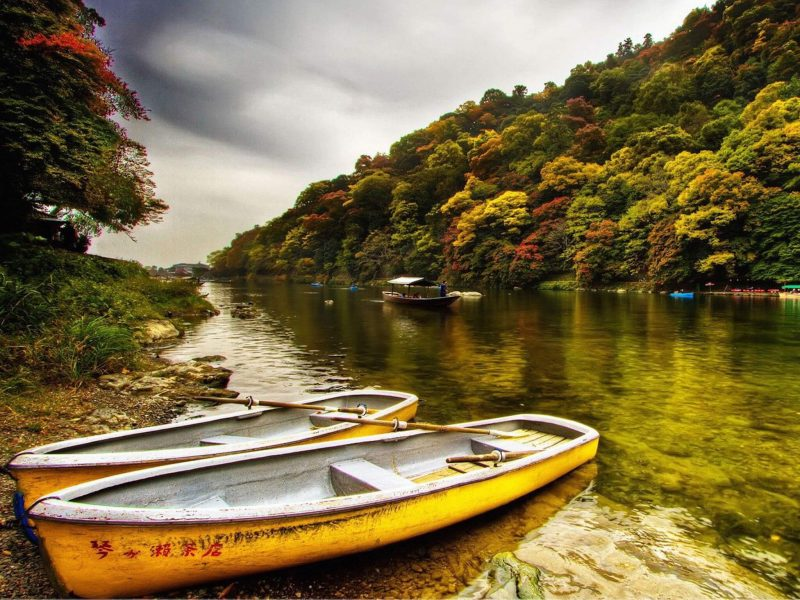 Autumn River Wallpaper Free Hd Fall Boat Images